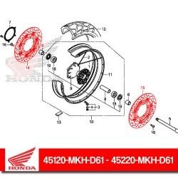 45120-MKH-D61 + 45220-MKH-D61 : Disques de frein avant Honda Honda X-ADV 750